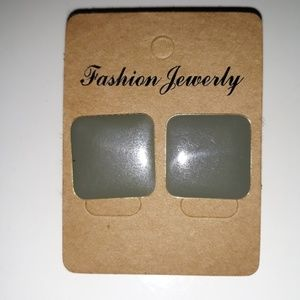 Vintage Earrings 1980's Taupe Gray Square